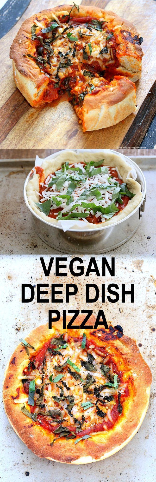 Vegan Deep Dish Pizza Recipe. Easy Deep Dish Pizza with from scratch crust, red pepper, spinach, vegan mozzarella and basil. Vegan Pizza Recipe with homemade 20 Minute Deep Dish Pizza Crust, almost no knead   http://VeganRicha.com