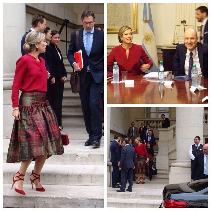 """""""Speciaal voor de fashionistas: koningin Máxima woensdagmorgen op weg naar en bij de Centrale Bank van Argentinië."""""""