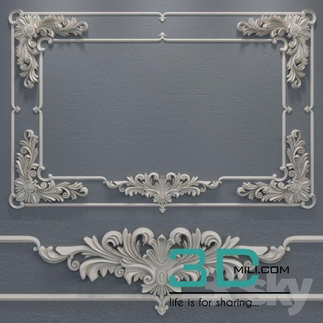 03  Decorative plaster 3D model free download | 3d mili in