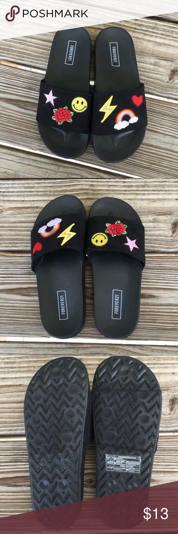 NWOT emoji slides bundle and save 10% These have never been worn they still have the elastic band. Size 5 1/2 Smoke free home Bundle and save Forever 21 Shoes Sandals