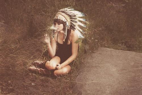 this image makes me want a headdress badly. #headdress #smoke #calm #girl