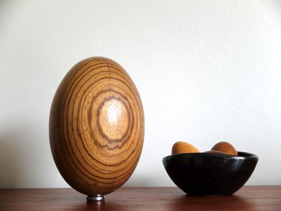 Vintage big exotic wooden EGG mid century decor 1950s 50s fifties - Ostrich's egg on Etsy, $45.88