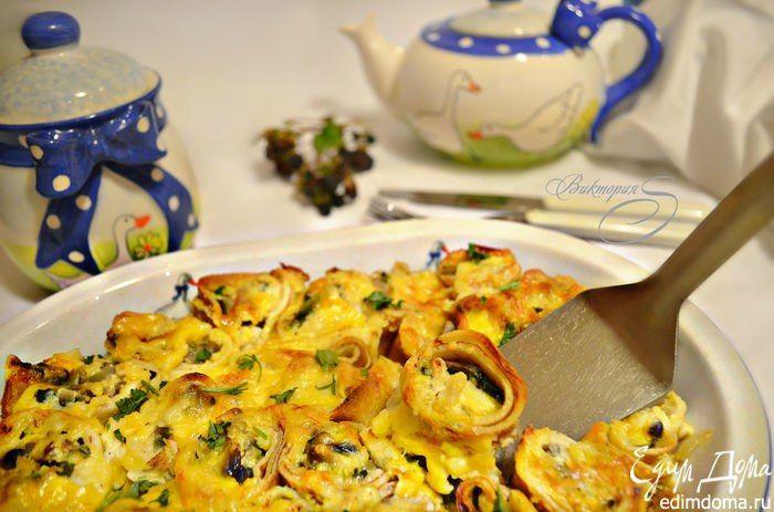 Блинная запеканка с шампиньонами   Нежные блинчики, вкуснейшая сочная грибная начинка, сырная корочка, угощайтесь! #едимдома #готовимдома #рецепты #кулинария #домашняяеда #утро #завтрак #запеканка