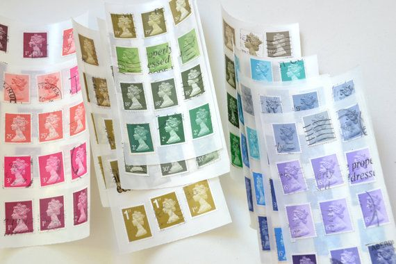 Upcycled vintage postage stamps stickers Machin by RUstickershop