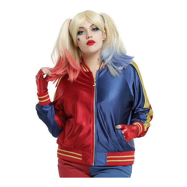 Hot Topic DC Comics Suicide Squad Harley Quinn Girls Bomber Jacket... ($89) ❤ liked on Polyvore featuring costumes, harley quinn costume, women's plus size halloween costumes, gold costume, harley quinn halloween costume and joker costume