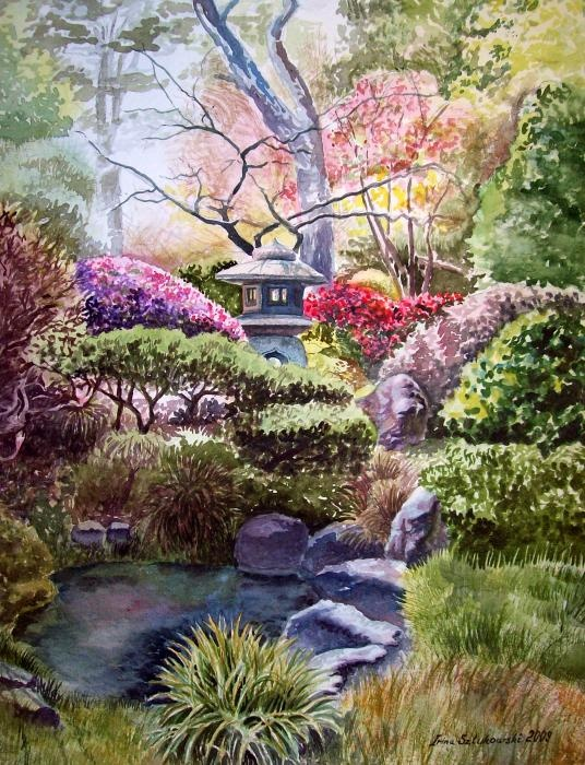 Garden Pond Painting   San Francisco Golden Gate Park Japanese Tea Garden  By Irina Sztukowski