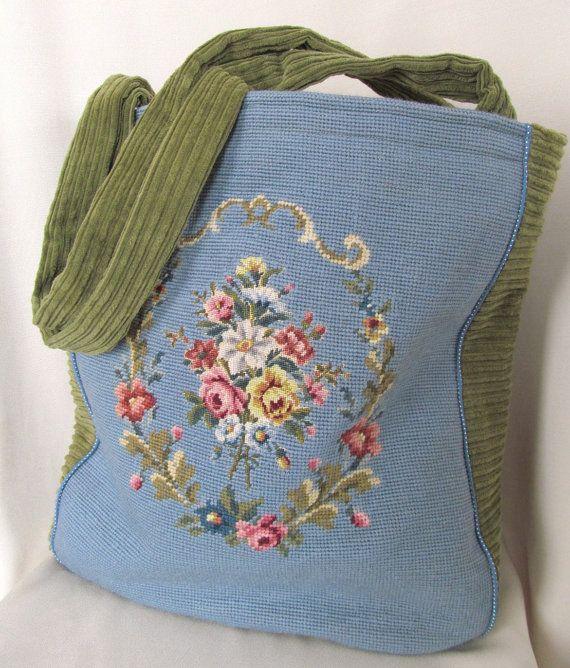 Upcycled Needlepoint Tote Bag by FiberLingo on Etsy, $65.00