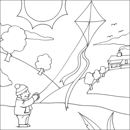 Parents Play The Kite On Ground Coloring Pages