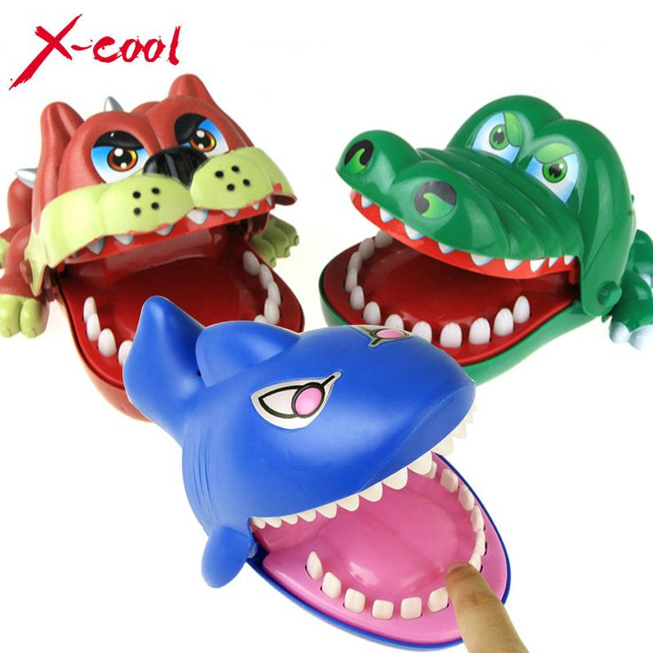 X-cool Large Bulldog Crocodile Shark Mouth Dentist Bite Finger Game Funny Novelty Gag Toy for Kids Children Play Fun