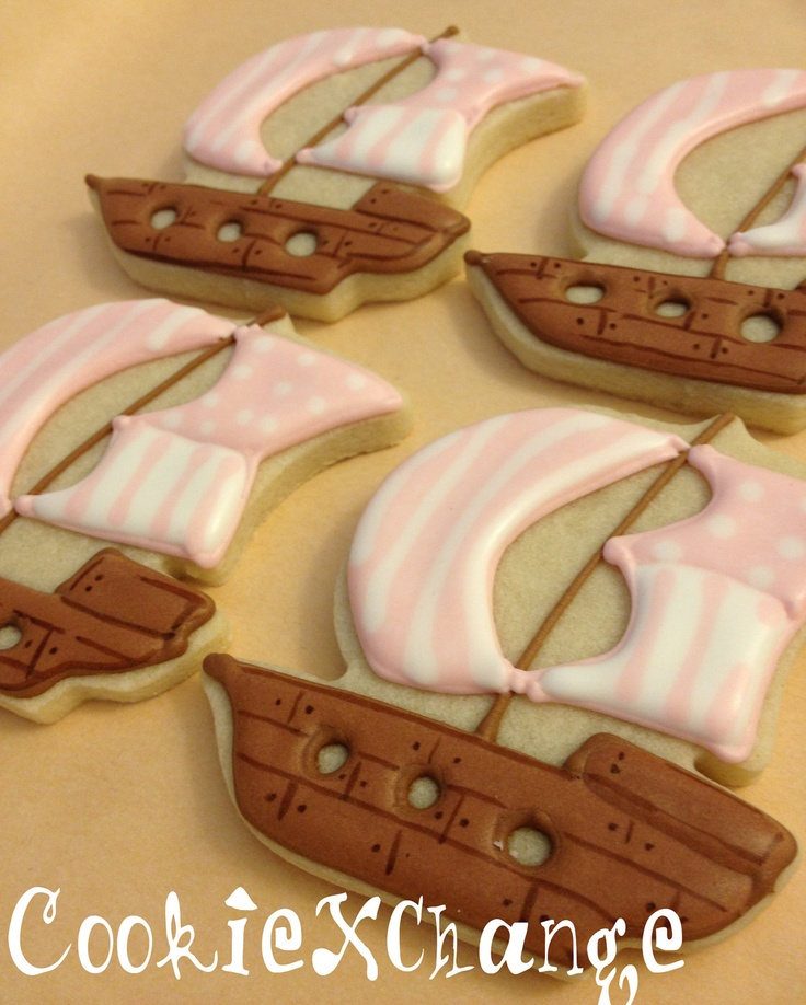 Pirate Ship decorated Cookies. $25.00, via Etsy.