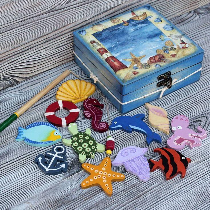 """Малышам понравится игровой набор """"Морская рыбалка"""" из магазина Ольги Липеевой. Узнать подробности можно по ссылке в профиле   https://www.livemaster.ru/goroziy  #livemaster #handmade #art #design #instagood #wood #painting #forkids #toys #длядетей #ярмаркамастеров #ручнаяработа #работаназаказ #искусство #дизайн"""