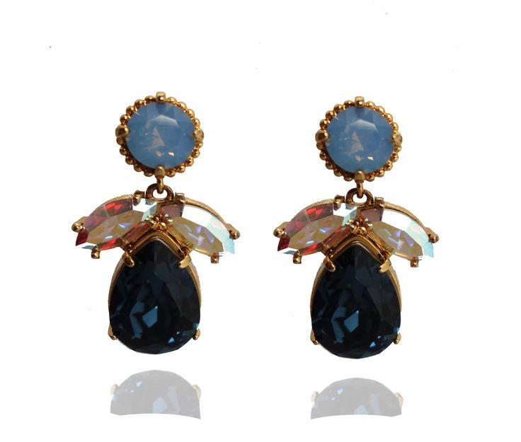 FLORAL EARRINGS – SWAROVSKI® AIR BLUE OPAL