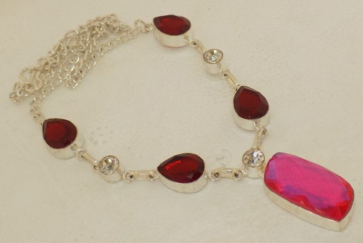 AWESOME FLASHY MYSTIC TOPAZ+GARNET QUARTZ 925 STERLING SILVER OVERLAY NECKLACE #Handmade