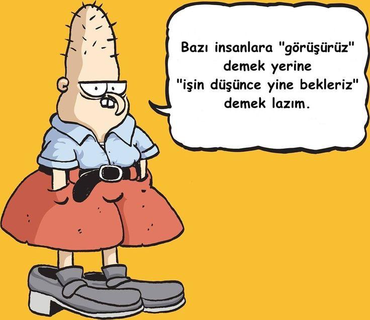 """Bazı insanlara """"görüşürüz"""" demek yerine """"işin düşünce yine bekleriz"""" demek lazım.  #baattin #karikatür #mizah"""