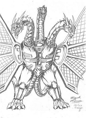 King Ghidorah Coloring Pages Sketch Coloring Page Mosaic