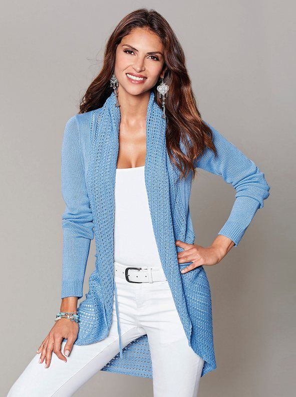 Women Cardigan Jacket Tricot With Flap And Openwork Details