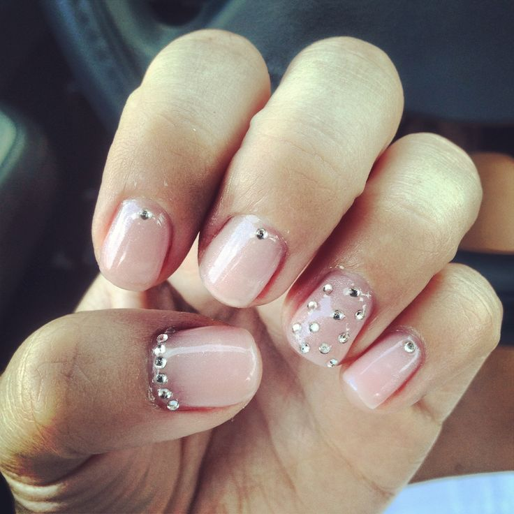 Light Pink Gel Polish with Rhinestones