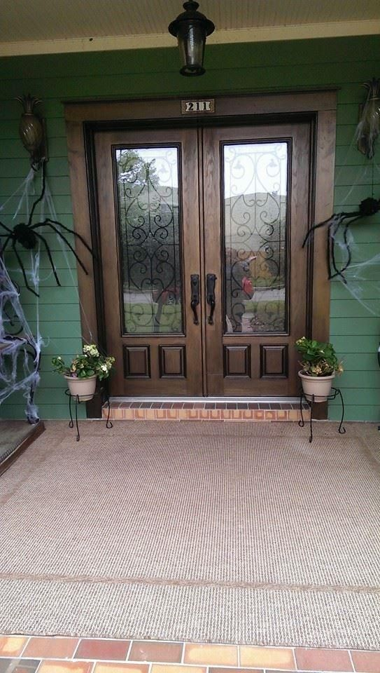 RSL, Wisteria door glass double fiberglass door.  Note:  wrought iron set within glass (textured on inside, clear on outside) makes cleaning easy.