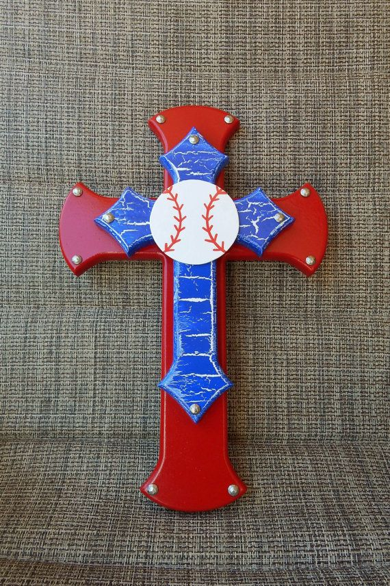 Baseball Cross Sports Cross Red White and Blue by HowGreatThouArts