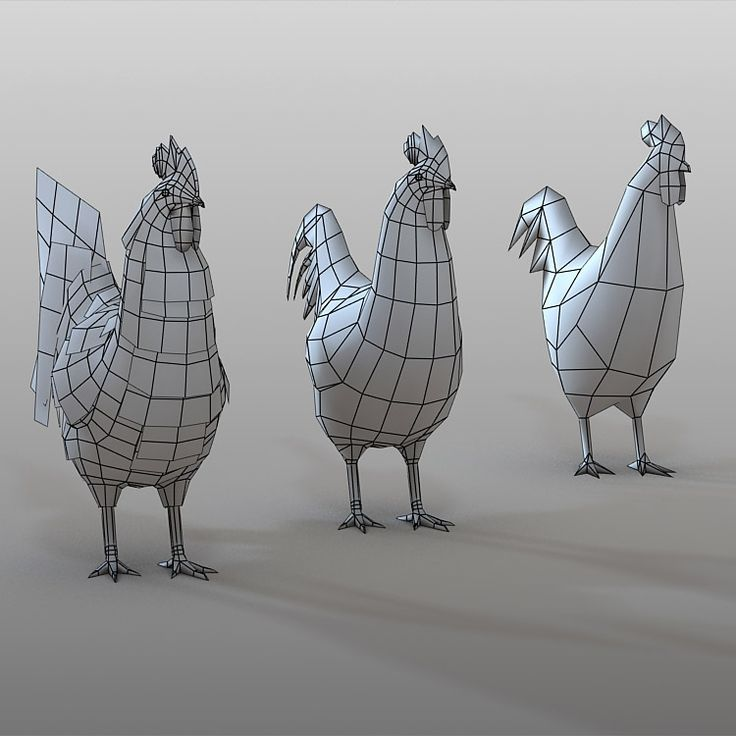 Low - medium poly animal rooster