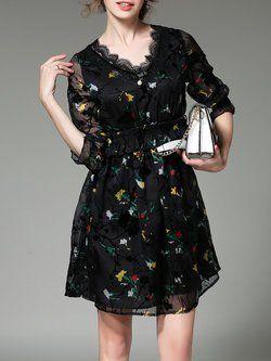 Elegant See-through Look A-line Half Sleeve V Neck Midi Dress