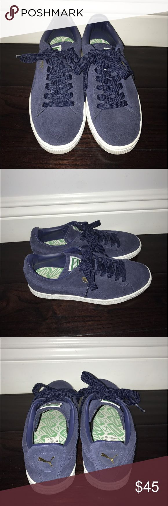Blue Puma Suede Classic In great condition. Only worn once. Mens size 6/Womens size 7.5 Puma Shoes Sneakers