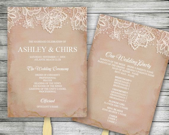 Printable Program Fan - Vintage Shabby Chic Rose with Lace - Pretty Rustic Rose Color Background - Wedding Agenda - Order of Service