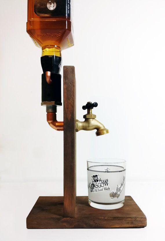 Hecho a mano madera Alcohol dispensador por SteamVintageWorks