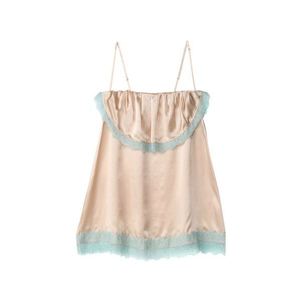 【ELLE SHOP】イラン イラン シルクサテンベアトップキャミソール ファッション通販 エル・ショップ ($335) ❤ liked on Polyvore featuring tops and dresses
