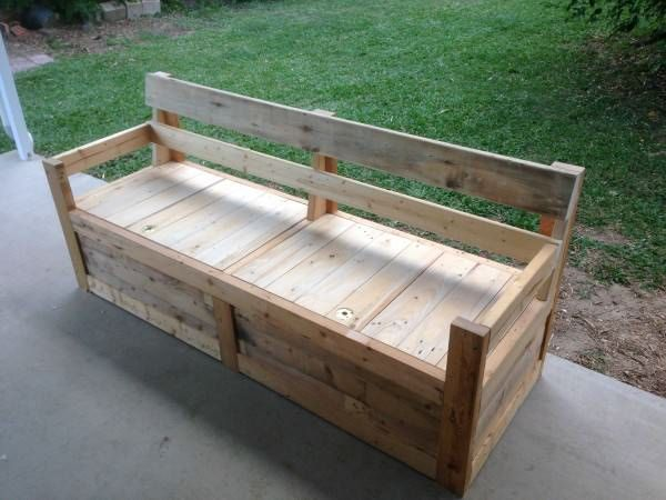 Patio Chair & Storage Box Made With Pallets Benches & Chairs Boxes & Chests