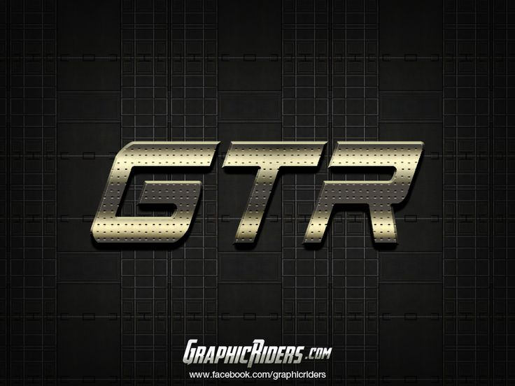 Metallic text style – GTR (free photoshop layer style, text effect) #graphicriders
