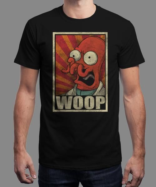 """""""Woop!"""" is today's £8/€10/$12 tee for 24 hours only on www.Qwertee.com Pin this for a chance to win a FREE TEE this weekend. Follow us on pinterest.com/qwertee for a second! Thanks:)"""