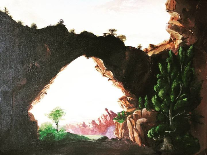 Beautiful cliff painting! Amazing contrasts and green colour accents it's a real pleasure to look at it!