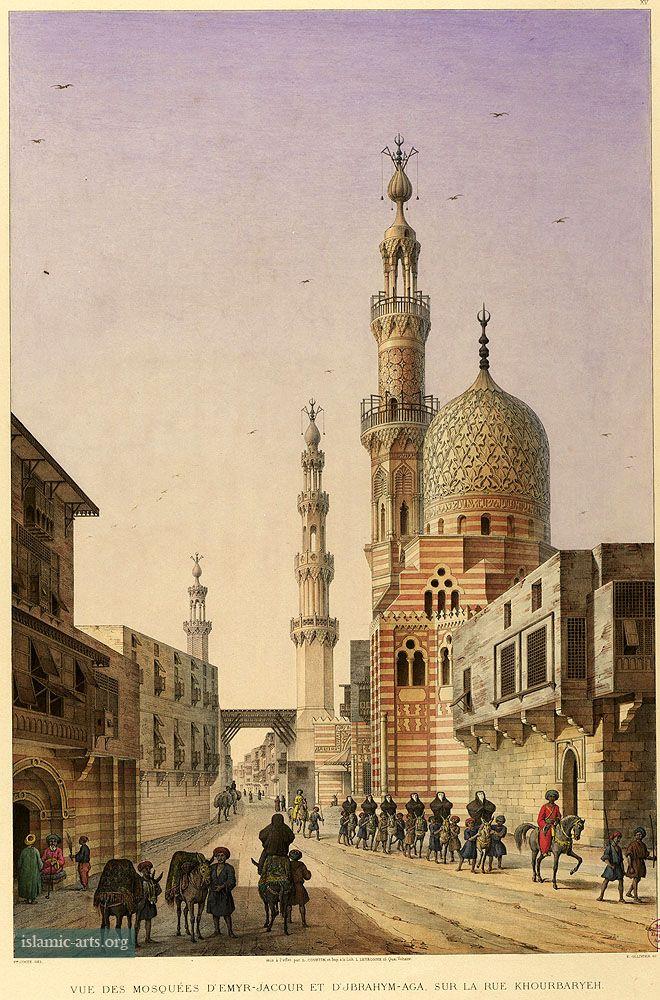 Exterior, Darb al-Ahmar street view of Amir Khayerbak & Aqsunqur Mosques, Architecture arabe; 1818-1826