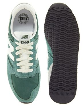 New Balance 420 Green Vintage Suede Trainers
