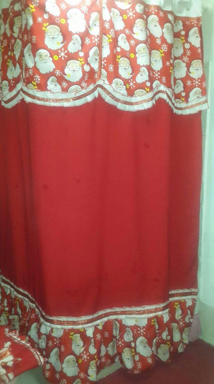 cortina de baño navideña