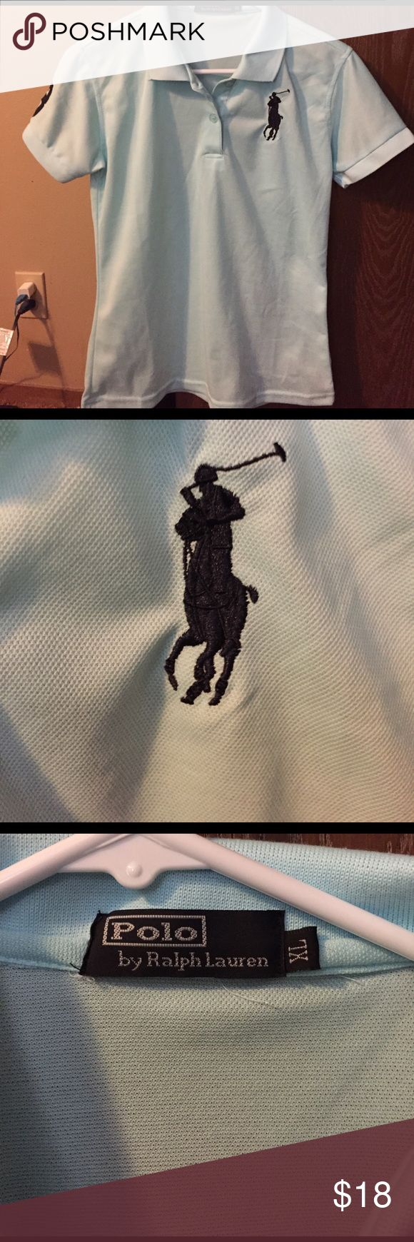 Polo by Ralph Lauren polo shirt Light teal with navy blue polo guy, says xl but fits like a woman's small. Polo by Ralph Lauren Tops Tees - Short Sleeve