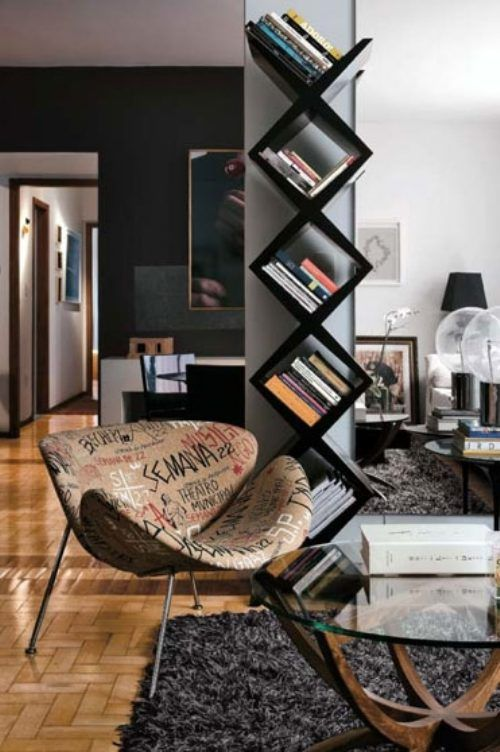 love the bookcase & chair #livingroom interior design, sofas, flooring, ceiling, lighting, rugs, coffee tables, art in the living room #decorating loft wallpaper