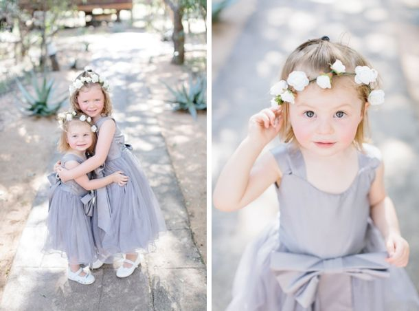 flower girls in grey | SouthBound Bride www.southboundbride.com Credit: Rensche Mari