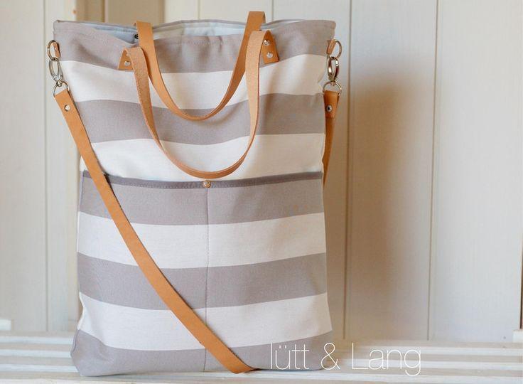 Basic Shopper ★ Canvastasche ★ grau/ weiß von lütt & Lang auf DaWanda.com