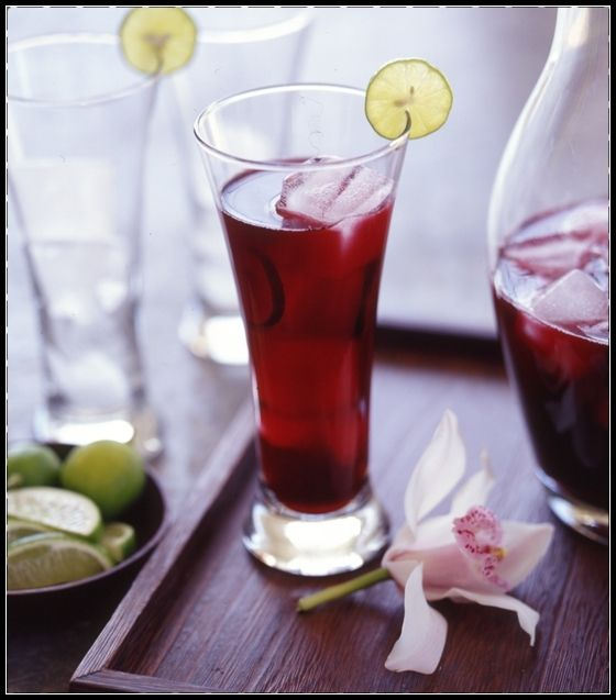 Karkade: Cold Hibiscus tea with pieces of ice acts as a sedative for ...