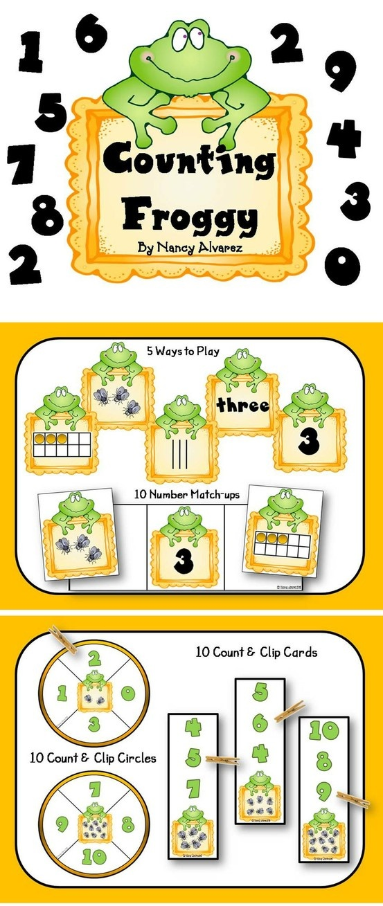 $3.25 Counting Froggy math center comes with 8 different activities to give your students plenty of practice counting, matching and identifying numerals, ten frames, number words, tally marks and number sets from 1-10. Download preview to view instructions and all the ways you can use this math center. Activities are can easily be differentiated by adding cards or purposely leaving cards out.