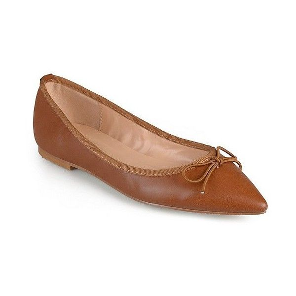 Women's Journee Collection Lena Pointed Toe Bow Ballet Flats ($30) ❤ liked on Polyvore featuring shoes, flats, camel, ballet shoes, pointy toe ballet flats, bow shoes, ballet pumps and bow ballet flats