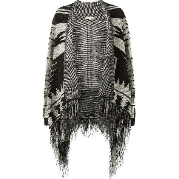 Cameo Rose Black Aztec Waterfall Fringed Cardigan ($14) ❤ liked on Polyvore featuring tops, cardigans, jackets, sweaters, outerwear, long sleeve fringe top, long sleeve knit tops, rose cardigan, aztec fringe cardigan and rose top