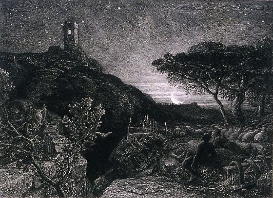 The Lonely Tower by Samuel Palmer (1879). ETching, 4th state. #etching #printmaking #Palmer