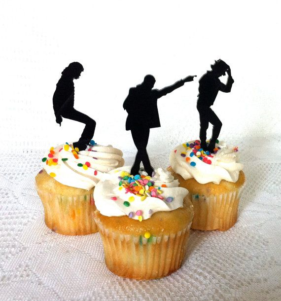 MADE In USA Michael Jackson Cupcake Toppers Set of 3 Michael