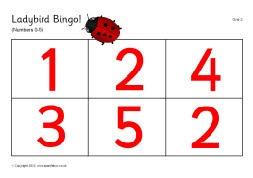 Ladybird spots bingo - Numbers 0-5 (SB192) - SparkleBox