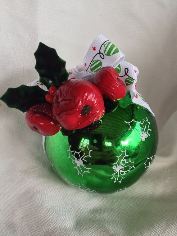 Red and green holly Christmas bauble. on Etsy, $14.95 AUD