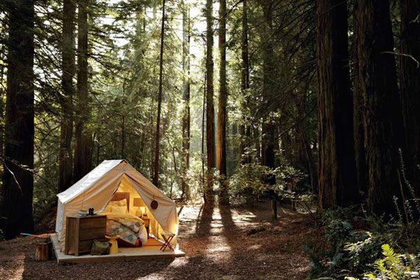 My own permanent backyard camping spot. Eena wall tent from Beckel Canvas Products.... options include stove pipe hole, windows and porches.