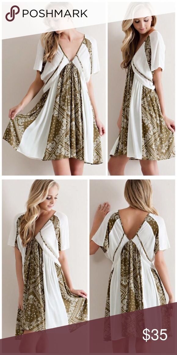 Boho olive and cream mini dress This dress is absolutely adorable. I'm so sad I have to reposh... it does not fall right over my larger chest. Brand new. Never worn. Only tried on. Asking only what I paid for it. Dresses Mini